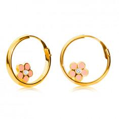Złote okrągłe kolczyki z 14K złota, różowy kwiat, lśniąca powierzchnia, 15 mm