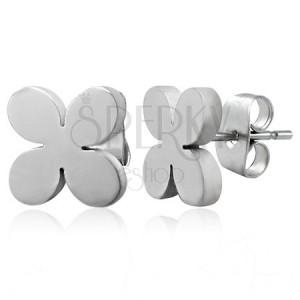 Stalowe kolczyki srebrnego koloru - TABONO kwiatek, wkręty