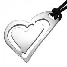 Stalowa zawieszka - ukośne serce