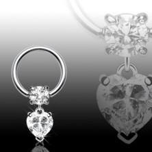 Piercing ze stali chirurgicznej - krążek z okrągłą cyrkonią i w kształcie serca