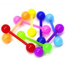 Kuleczkowy piercing do języka - neonowe kolory