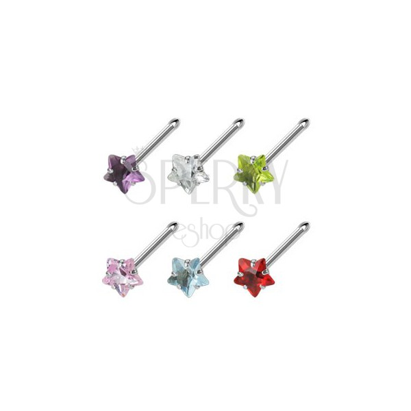 Stalowy piercing do nosa z kolorową cyrkonią - gwiazdka
