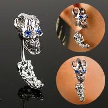Stalowy piercing do ucha - piracka czaszka z cyrkoniowymi oczami