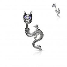Kolczyk do pępka - ognisty smok z cyrkoniowymi oczami