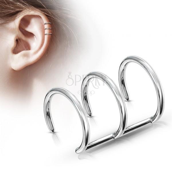 Sztuczny piercing do ucha ze stali 316L - trzy kółka srebrnego koloru