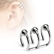 Fake piercing do ucha ze stali chirurgicznej - potrójne kółko z kulkami