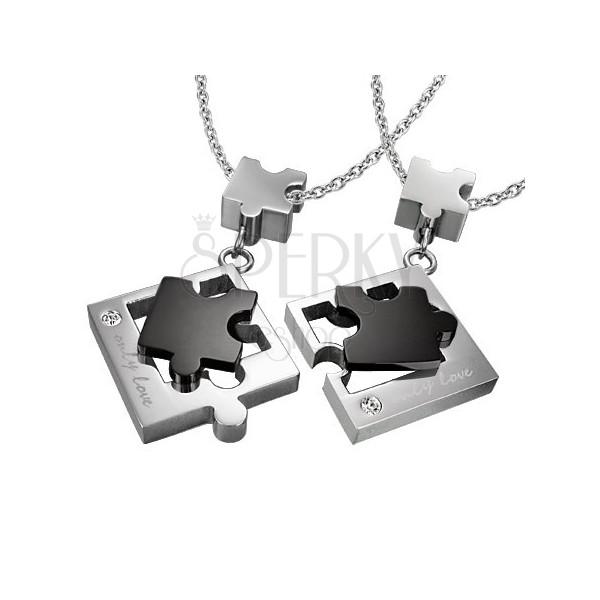 Zawieszki dla dwojga ze stali - puzzle, srebrno-czarne