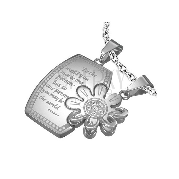 Stalowa zawieszka dla dwojga - prostokąt, kwiat z cyrkoniami