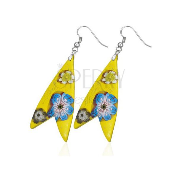 Kolczyki Fimo - żółty trójkąt, w kształcie rybki, kwiatki