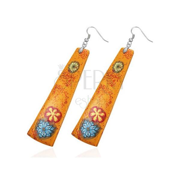 Pomarańczowe kolczyki Fimo - długi prostokąt, kwiaty