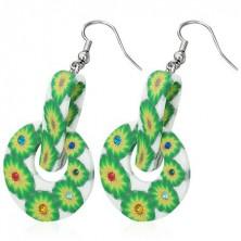 FIMO okrągłe kolczyki - zielone kwiaty, spinacz