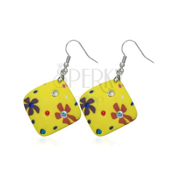 Kolczyki Fimo - żółte kwadraty, kwiatki i cyrkonie