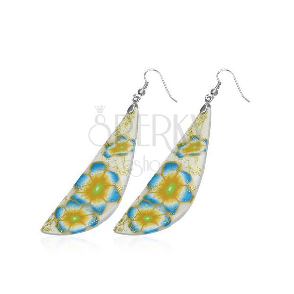 Kolczyki FIMO - biało-żółta łezka, niebieskie kwiaty