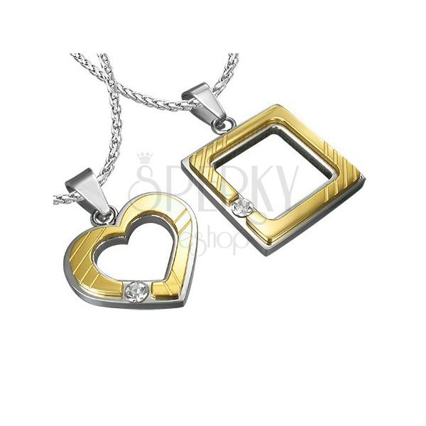 Stalowa zawieszka dla zakochanych - kwadrat, serce, cyrkonia