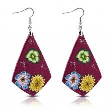 Kolczyki FIMO - fioletowe romby, kwiaty