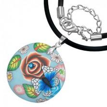 FIMO naszyjnik - niebieskie kółko z motylem, cyrkonie, kwiaty
