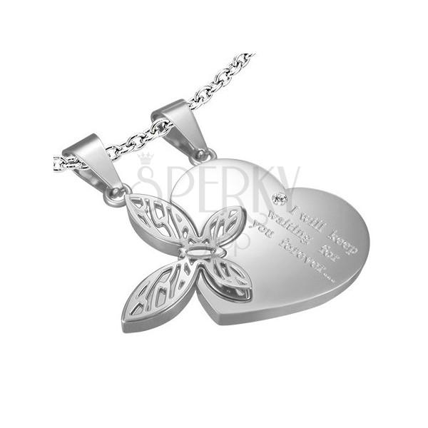 Dwuczęściowa stalowa zawieszka dla zakochanych - serce, motyl
