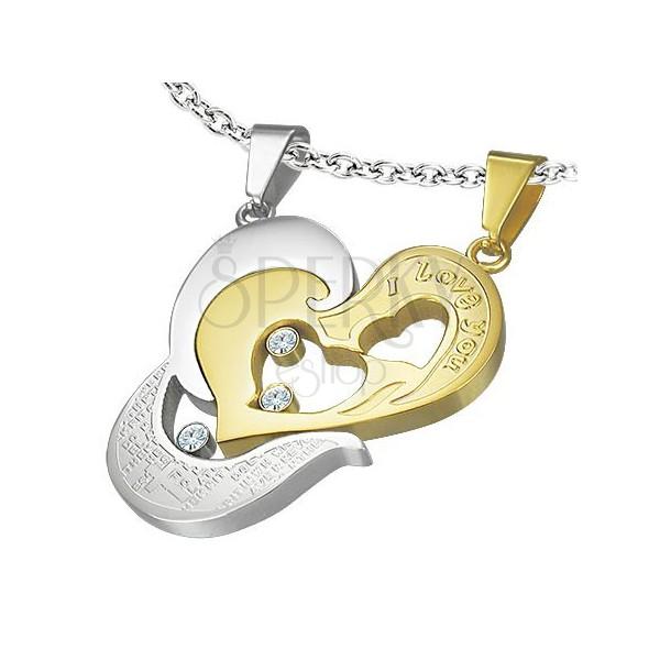 Stalowy wisiorek dwuczęściowy - złote serce I love you, krzyżyk