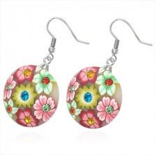 Okrągłe kolczyki Fimo - różowe i zielone kwiatki