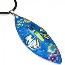 Naszyjnik z masy FIMO - niebieski owal, motyl