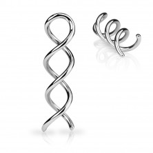 Piercing do ucha ze stali srebrnego koloru - kontura błyszcącej spirali