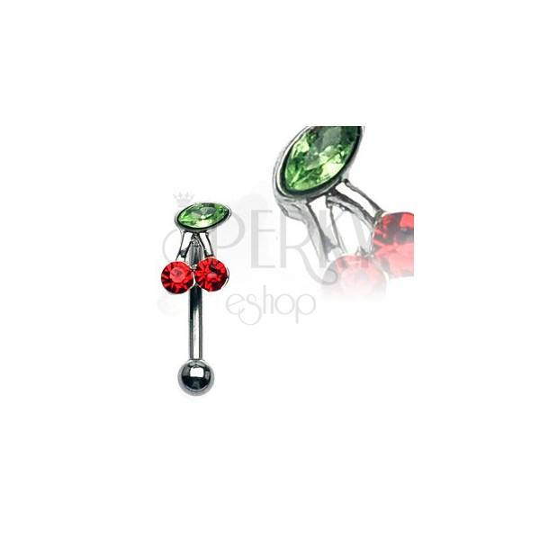Kolczyk do brwi - wisienki z zielonymi i czerwonymi cyrkoniami