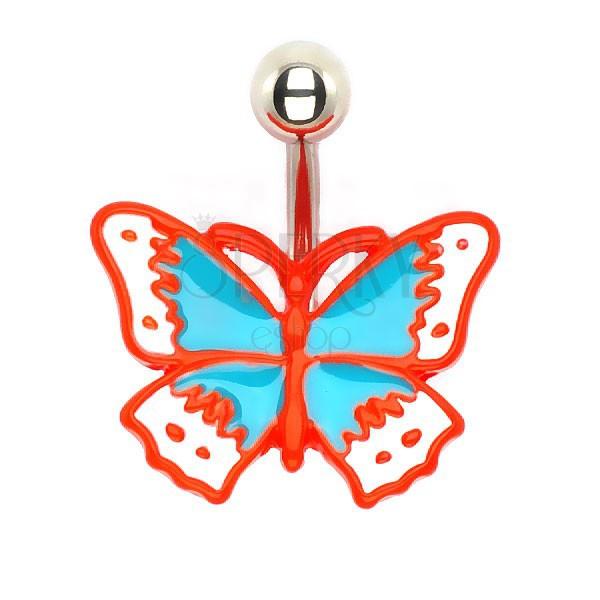 Kolczyk do pępka - lany motyl retro