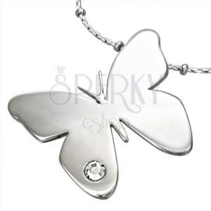 Zawieszka ze stali chirurgicznej, lśniący motyl z bezbarwną cyrkonią