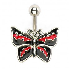 Piercing do brzucha - rockowy motyl
