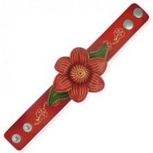 Skórzana bransoletka - kwiat winorośli, czerwony