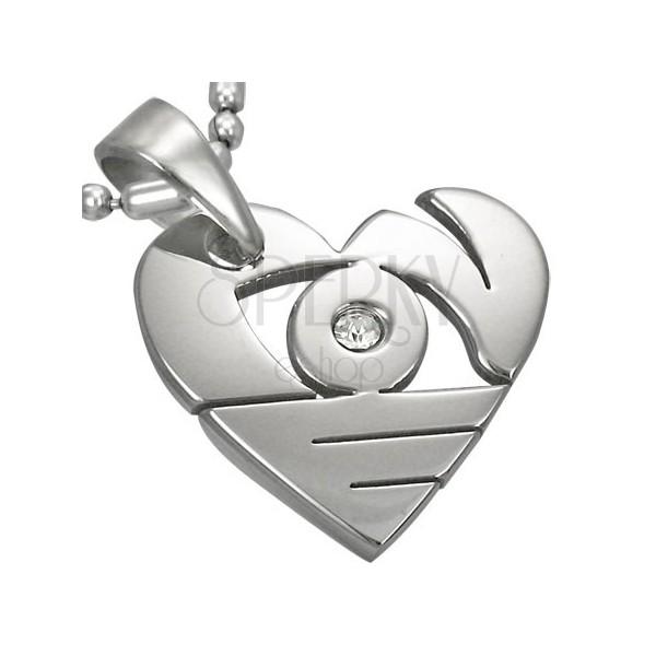 Zawieszka ze stali chirurgicznej srebrnego koloru, lśniące serce z wycięciami i cyrkonią