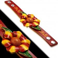 Bransoletka ze skóry - pomarańczowo-czerwony kwiat, liście, spiralne nacięcia