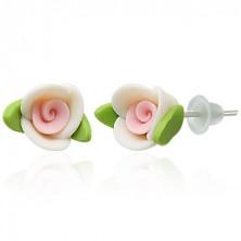 Kolczyki z masy FIMO - biała różyczka z listkami