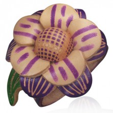 Bransoletka ze skóry - duży, fioletowy kwiat