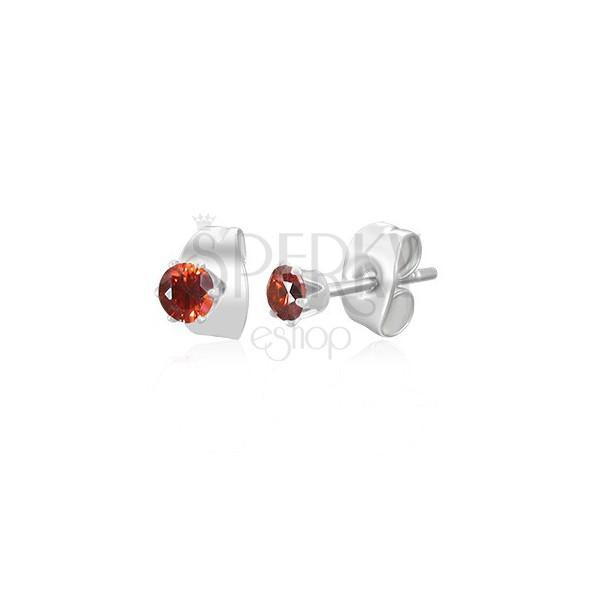 Kolczyki ze stali chirurgicznej srebrnego koloru - mała czerwona cyrkonia