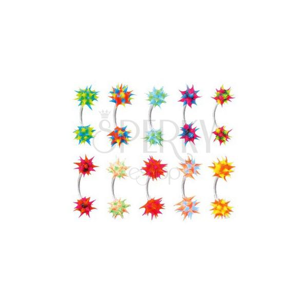 Kolczyk do brwi z kolorowym silikonowym jeżykiem