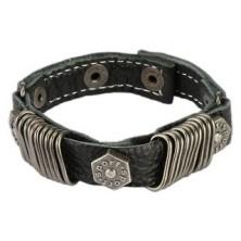 Skórzana bransoletka - stalowe kółeczka, wybijana