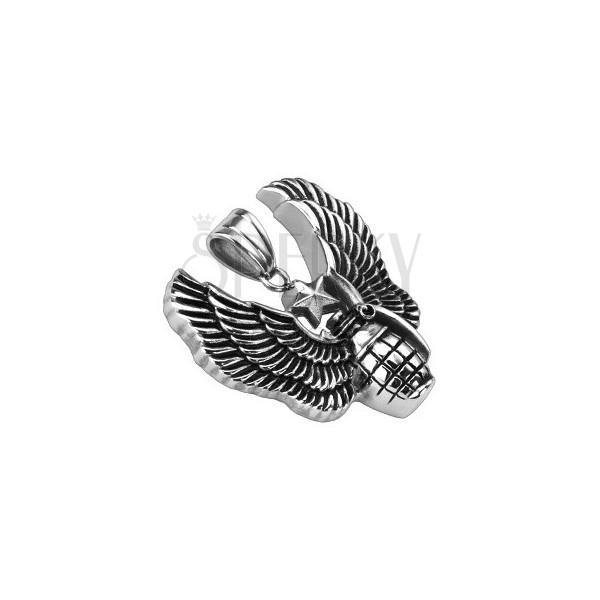 Stalowa patynowana zawieszka - granat, anielskie skrzydło i gwiazda odwagi