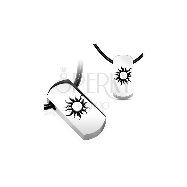 Stalowy naszyjnik - słoneczko, czarny skórzany sznurek