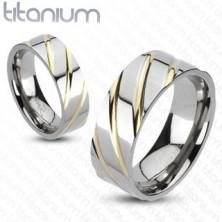 Tytanowy pierścionek - srebrny, złote paseczki