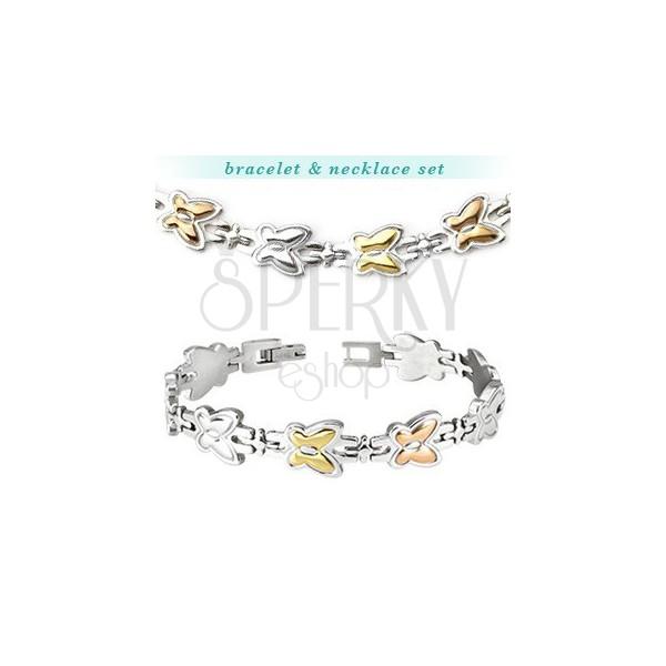 Stalowy naszyjnik i bransoletka - dwukolorowe motyle