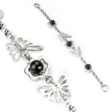 Bransoletka ze stali - motyle, kwiaty, koralik