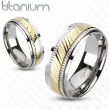 Tytanowy pierścionek - dwukolorowy, z rowkami