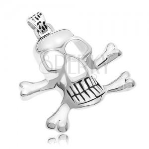 Zawieszka ze stali chirurgicznej - piracka czaszka, srebrny kolor