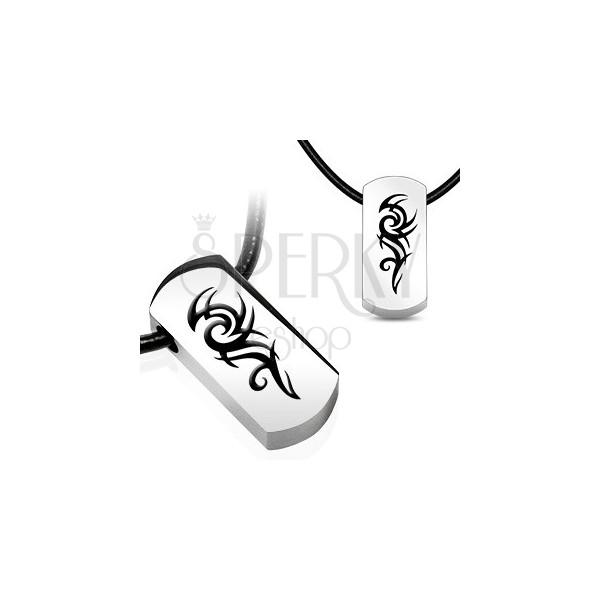 Naszyjnik z zawieszką ze stali - symbol TRIBAL