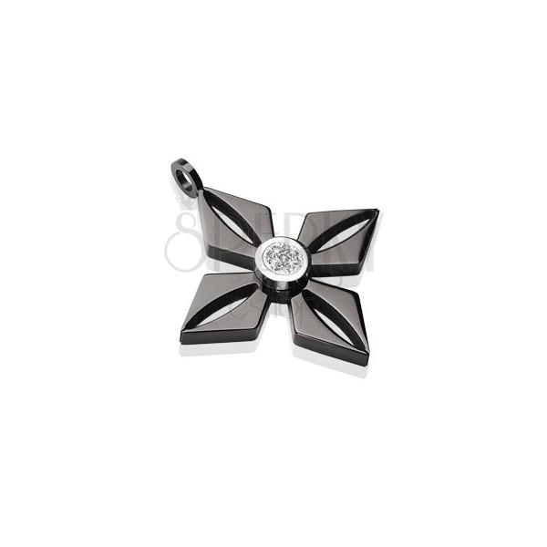 Zawieszka z czarnej stali chirurgicznej - kwiat z błyszczącą bezbarwną cyrkonią