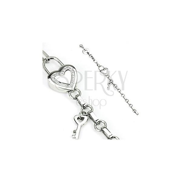 Bransoletka ze stali - łańcuszek z sercem, klucz