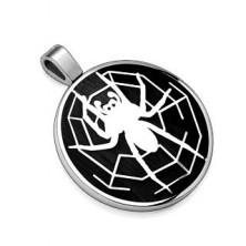Zawieszka ze stali 316L, czarne kółko z motywem pająka z pajęczyną