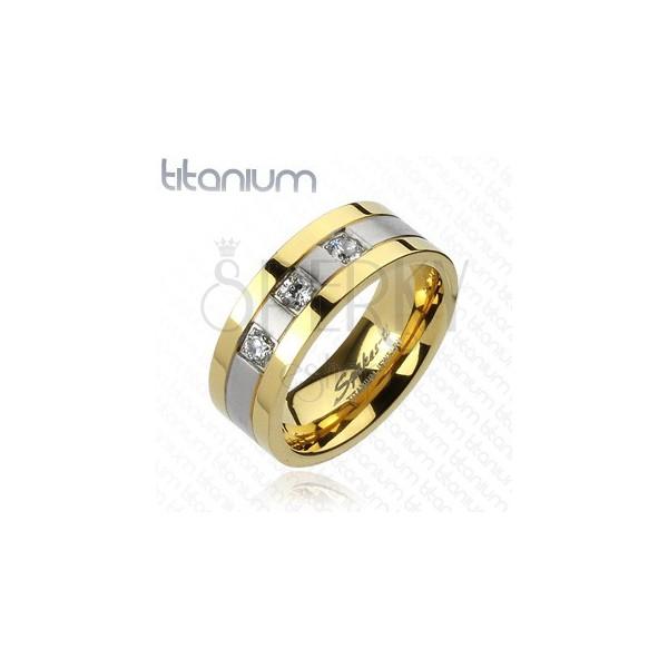 Tytanowy pierścionek - złoto srebrny, trzy cyrkonie