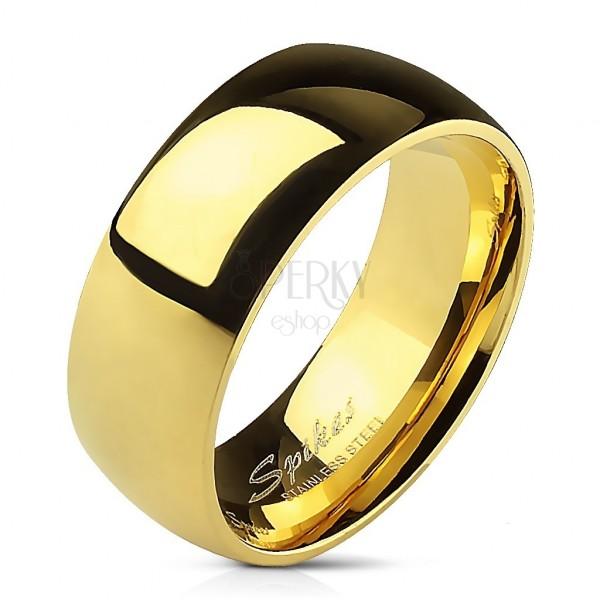 Gładka stalowa obrączka w kolorze złotym - 8 mm